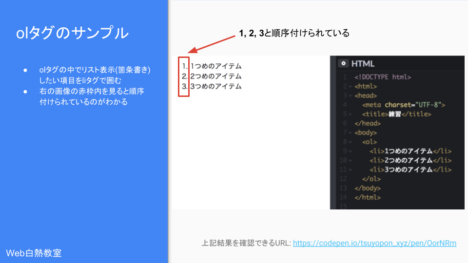 olタグを使ったサンプルコードとその結果