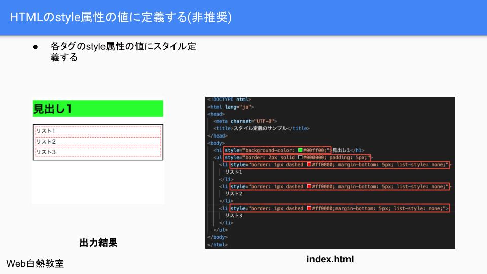 CSSファイルを使わずstyle属性を使ったやり方