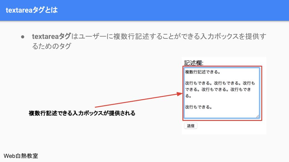 textareで複数行文字入力が可能になる