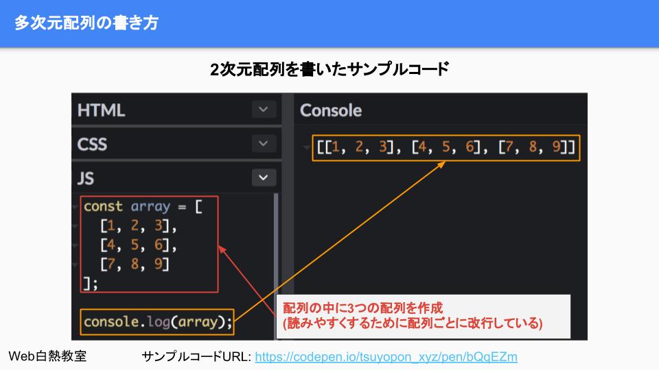 多次元配列を作成したサンプルコード