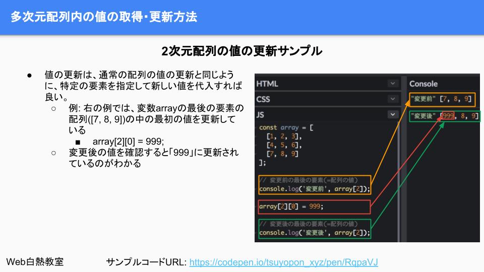 特定の値を更新するサンプルコード