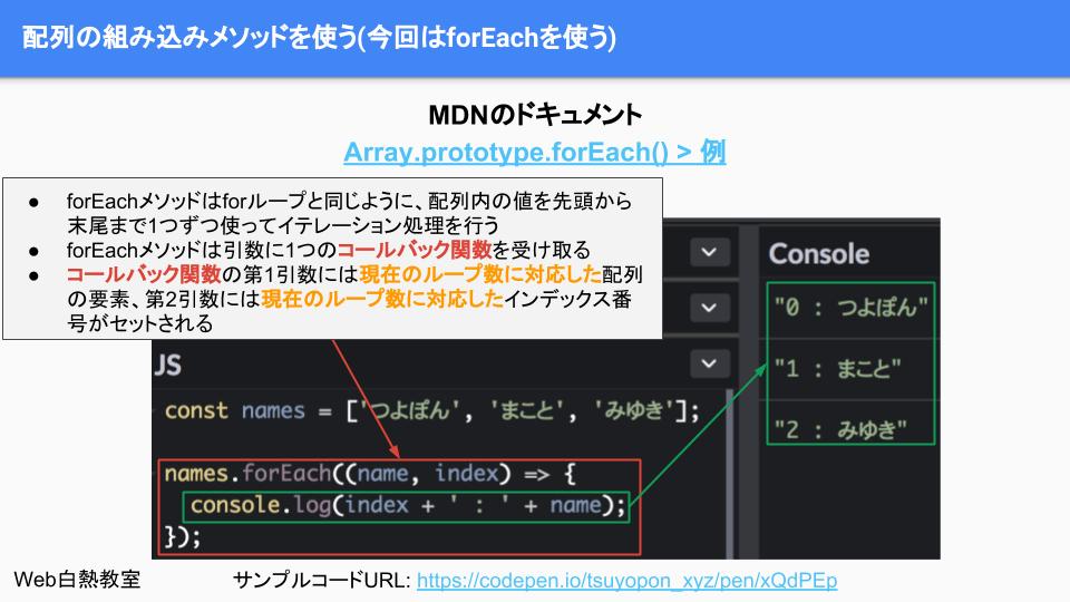 forEachを使ってループ処理をするサンプルコード