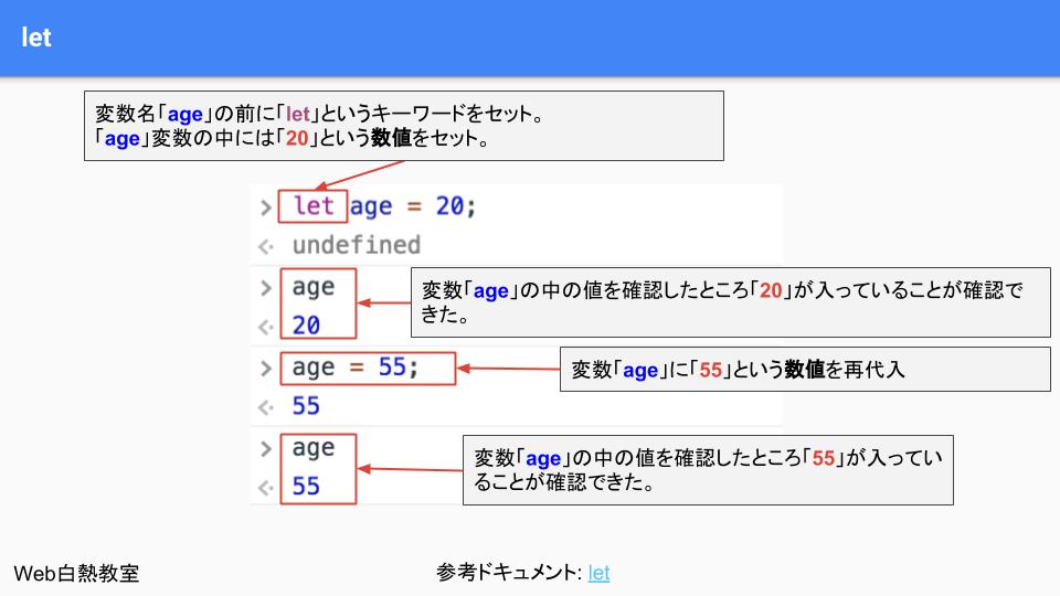 「let」を使って変数を作ったときのサンプル