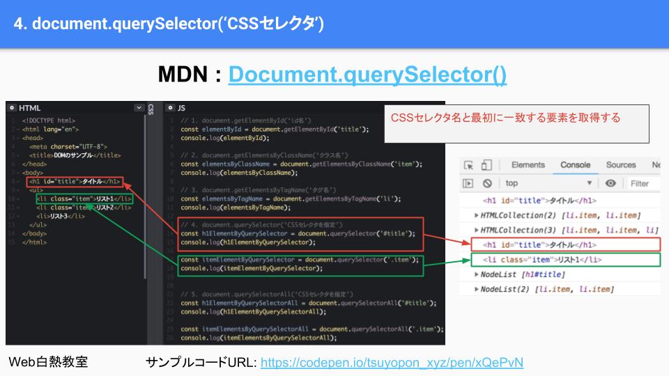 document.querySelectorのサンプルコード