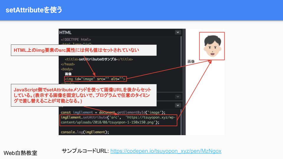 setAttributeを使ったサンプルコードの解説