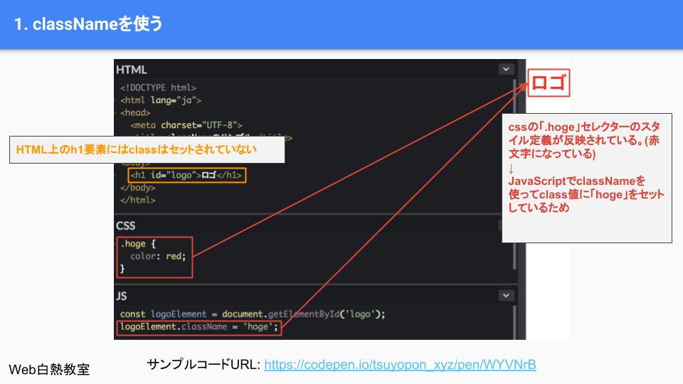 classNameを使ったサンプルコードの解説