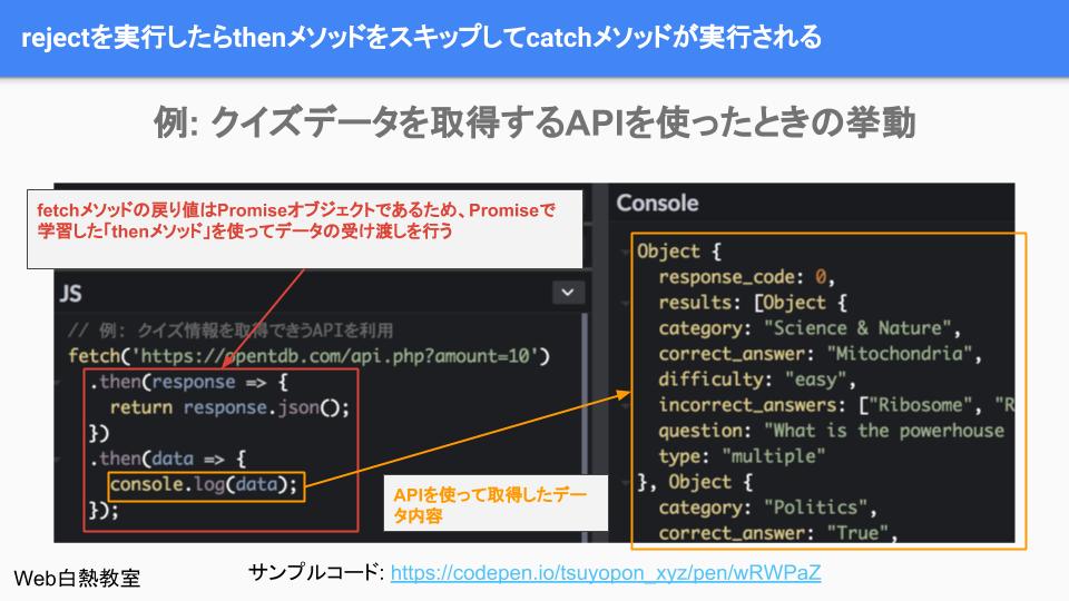 fetchを使ってAPI経由でデータを取得するサンプルコード