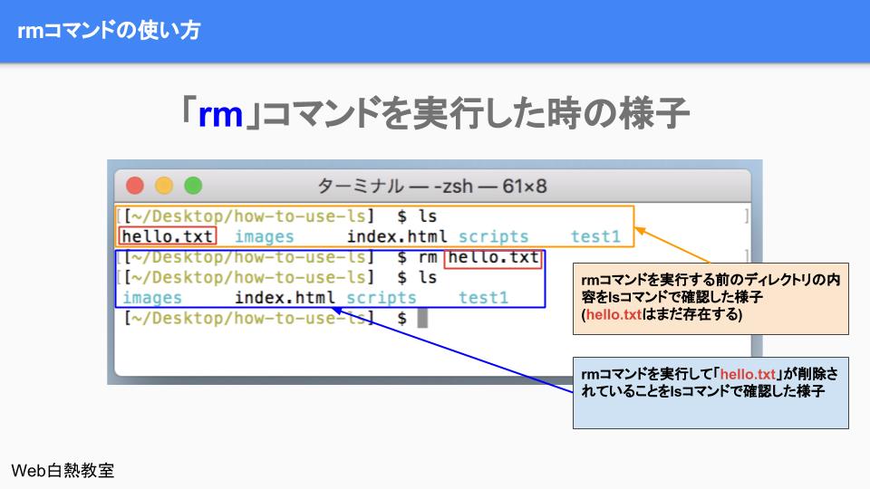 「rm」コマンドでファイルを削除する様子