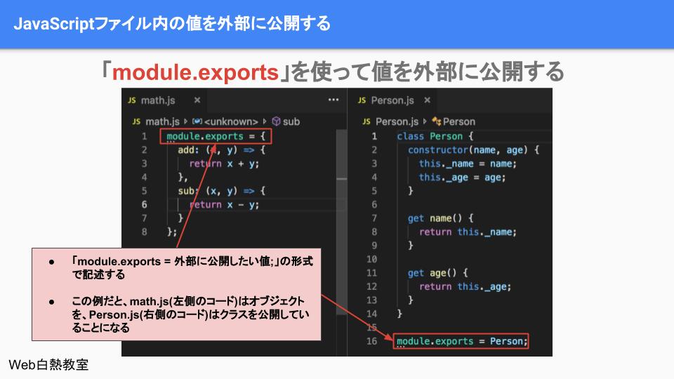 module.exportsでオブジェクトを外部に公開している様子