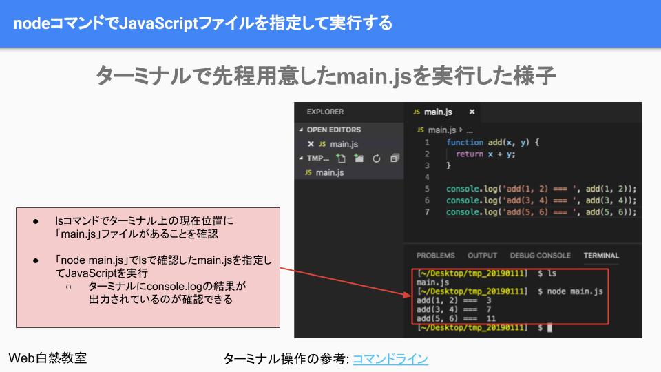 nodeコマンドを使ってさきほど作成したJavaScriptを実行する
