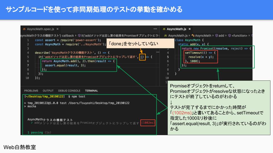 Promiseオブジェクトを使ってテストを非同期テストを行ったサンプル