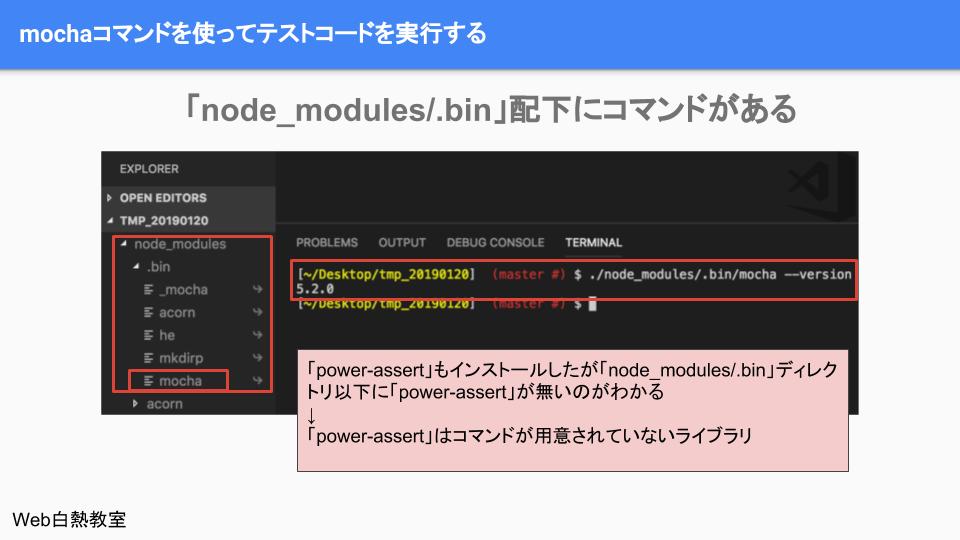 「node_modules/.bin」ディレクトリ内にある「mochaコマンド」が使えることを確認した様子