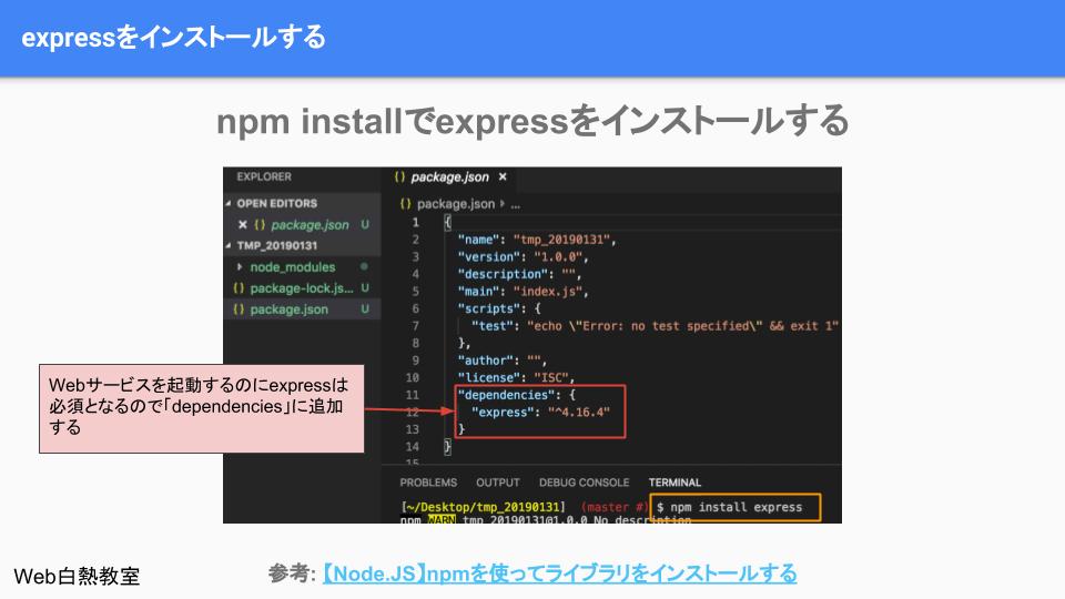 npmでexpressをインストールする