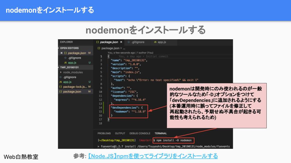 nodemonをdevDependenciesに追加