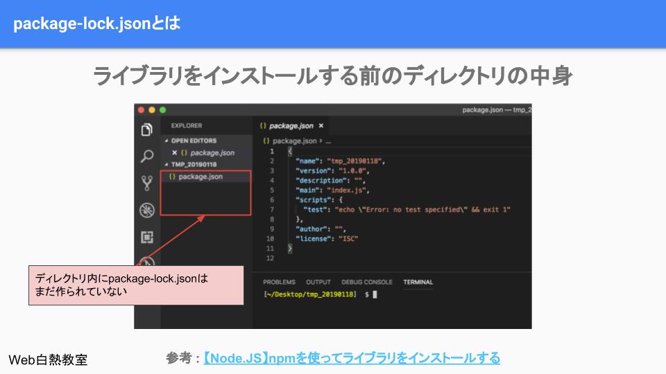 npm installでライブラリをインストールする前はpackage-lock.jsonは無い