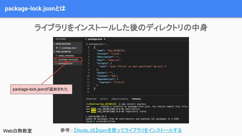 npm installでライブラリをインストールした後にpackage-lock.jsonは自動で作成される