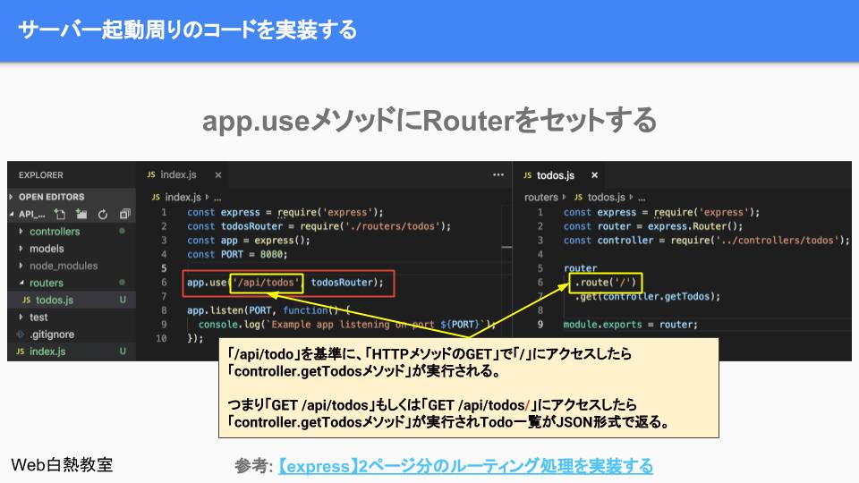 Routerをapp.useでセットして、apiの基準のパスを「/api/todos」に設定した