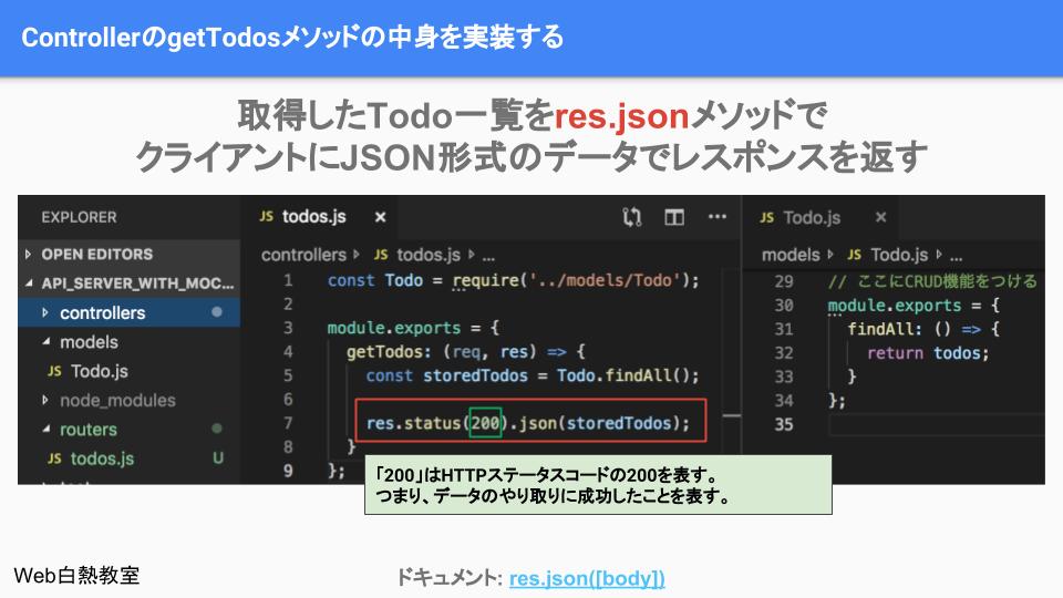 取得したデータ一覧をres.jsonメソッドを使ってクライアントに返す