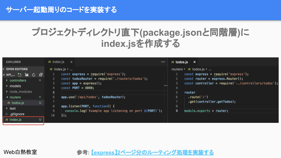 プロジェクトのルートディレクトリ直下にindex.jsを作成して、サーバー起動周りのコードを実装する