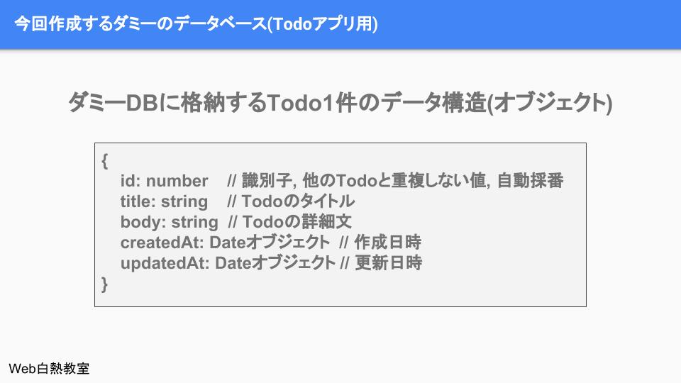 Todo1件毎のデータ形式(オブジェクト)