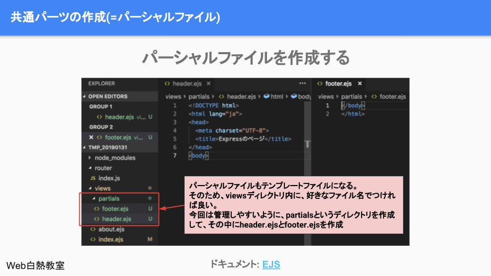 partialsディレクトリ内にheader.ejsとfooter.ejsを作成する