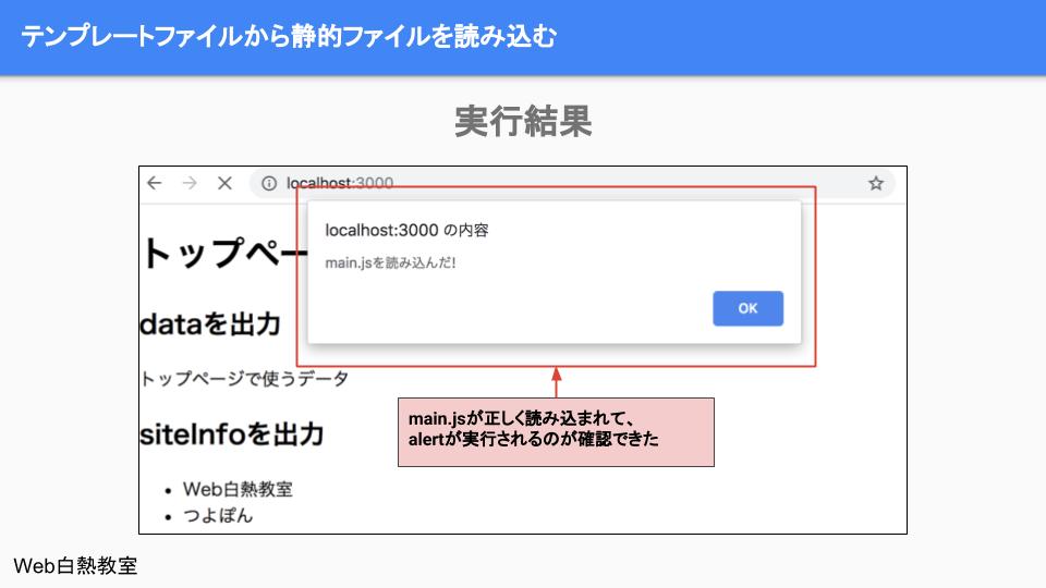 「js/main.js」に実装したalertが実行された