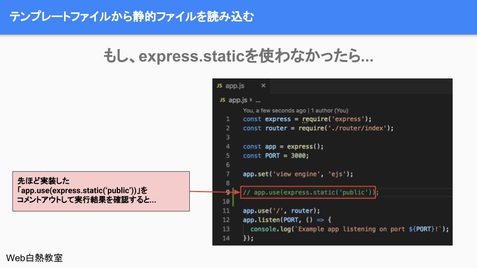 express.static部分をコメントアウトして、静的ファイルの設定を外した様子