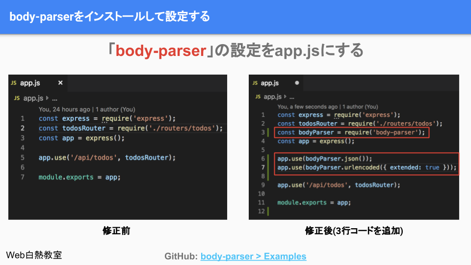 app.jsにbody-parserの設定を追加